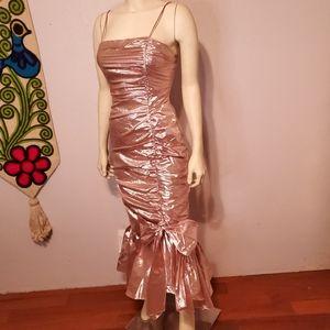 Vintage 80s Pink Lame Mermaid Gown